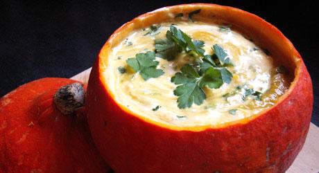 Recette Soupe de potimarron aux châtaignes en soupière naturelle on